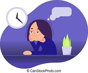 Girl is sitting at the table. Boring face. The girl thinks. Vector illustration