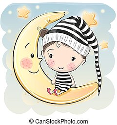 Girl is sitting on the moon