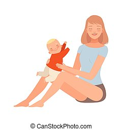 Girl is sitting with her baby in her arms character Illustration Vector