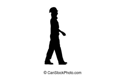 Girl is walking in a helmet to work. Silhouette. White background. Side view
