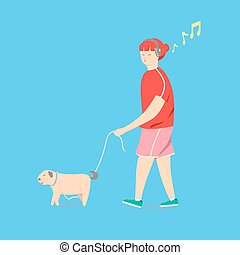 Girl is walking with a dog. Cartoon and Illustration vector