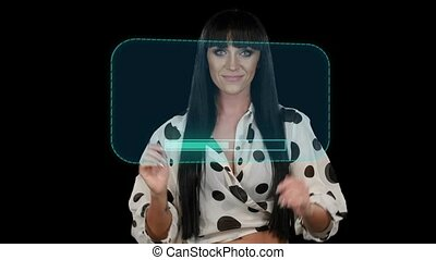Girl is working with virtual frames. Computer graphics, black background