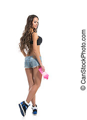 girl, isolé, fitness, sexy, blanc, studio