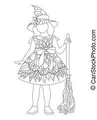 girl, isolé, fond, dessin animé, blanc, halloween, antistress, sorcière, style., costume.