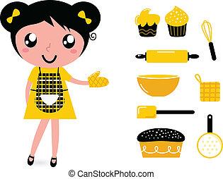 girl, isolé, mignon, cuisine, accessoires, blanc