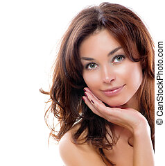 Girl Isolated on a White Background. Perfect Skin. Beauty...