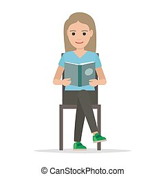 Girl Isolated on White Sits and Reads Open Book - Girl...