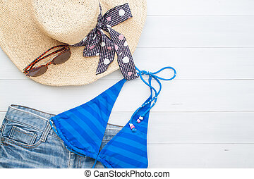 Girl items for summer vacation, Top view