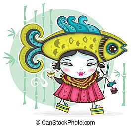 girl, japonaise, rigolote