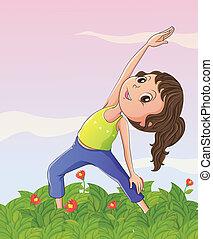 girl, jardin, exercisme