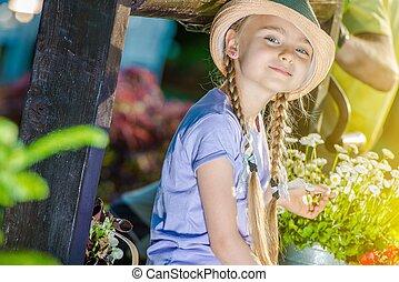 girl, jardin, heureux