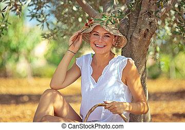 girl, jardinier, heureux