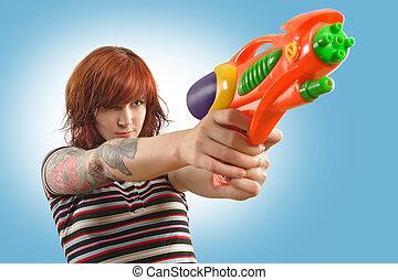 girl, jet, joli, fusil