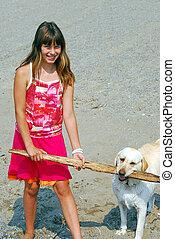 girl, jeu, chien
