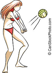 girl, jeu, volley-ball