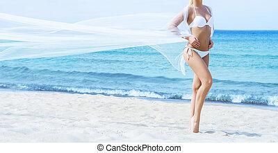 girl, jeune, été, bikini, plage, crise