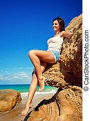 girl, jeune, été, heureux, plage, beau