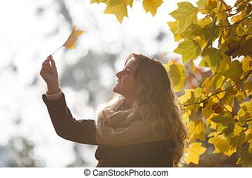 girl, jeune, automne