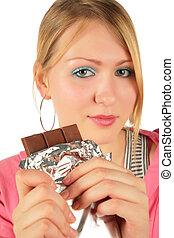 girl, jeune, chocolat