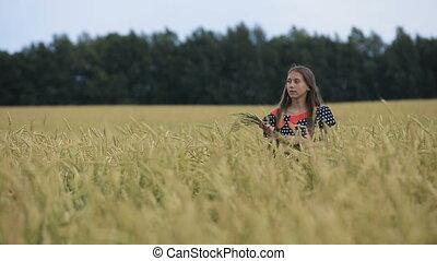 girl, jeune, field., oreilles, adolescent, blé, beau