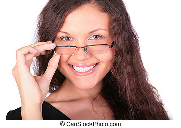 girl, jeune, joli, lunettes