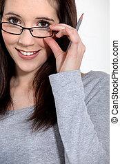 girl, jeune, lunettes
