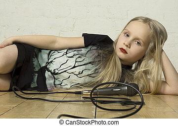 girl, jeune, microphone