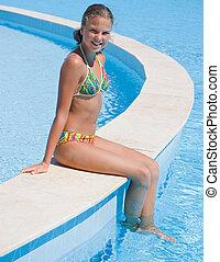 girl, jeune, piscine