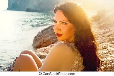 girl, jeune, plage, séance, beau, seul