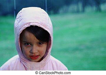 girl, jeune, pluie