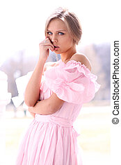 girl, jeune, robe rose, beau