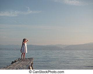 girl, jeune, vacances
