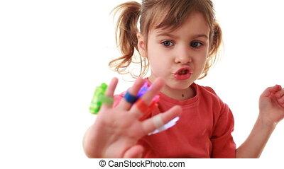 girl, jeux, à, laser, lampes poche, sur, doigts, dépeindre,...