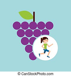 girl jogger grape healthy lifestyle vector illustration eps...