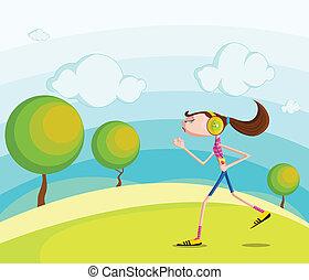 Girl jogging in park