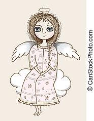 girl, joli, ange