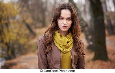 girl, joli, automne, parc