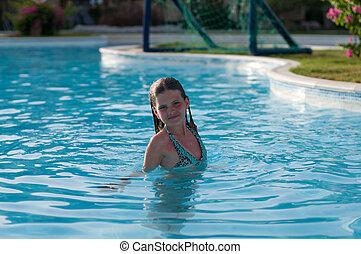 girl, joli, piscine