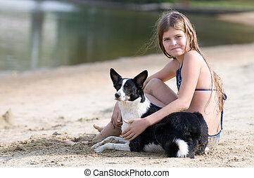 girl, joli, plage, chien, elle