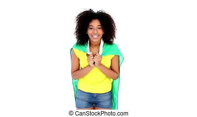 girl, joli, tshirt, jaune