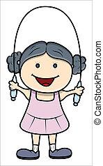 girl, jouer, à, corde à sauter