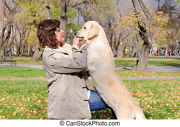 girl, jouer, chien, jeune