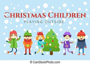 girl, jouer, hiver arbre, games., sledding, noël, ski, gosses, patinage