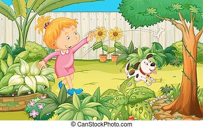 girl, jouer, jardin, chien