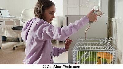 girl, jouer, rat, domestiqué, adolescent, maison