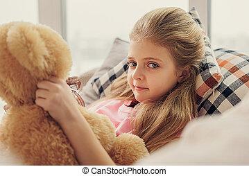 girl, jouet, innocent, ours, jouer