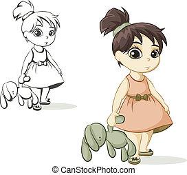 girl, jouet, lapin