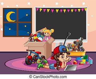 girl, jouets, délassant, scène, salle pleine