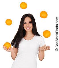 Girl Juggling Oranges White T-shirt - Young woman juggles...