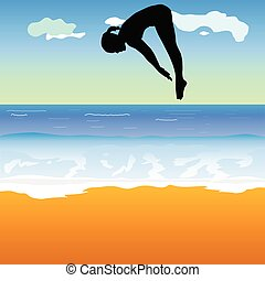 girl jump into the sea vector illustration